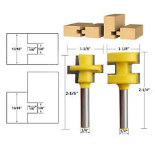 """2PC Tongue & Groove Router Bit Set 1/4"""" Shank Woodworking Tool Chisel Cutter NEW"""