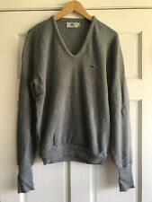 Vintage Izod Lacoste Sweater Gray V-Neck Alligator Logo Mens Medium