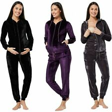 Happy Mama Women's Maternity Nursing Hooded Velvet Tracksuit & Jogger Set 1150