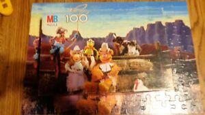 MB Muppet Cowboy Street Puzzle 100 Pieces Vintage 1981 Complete Gonzo Kermit