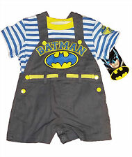 BATMAN 2-PIECE OVERALLS AND STRIPED SHIRT SET~SIZE 6-9 MONTHS~NEW WITH TAG