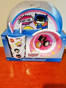 DC Comics JUSTICE LEAGUE Melamine 5 PC Supergirl Dining Set BPA Free Xmas gift