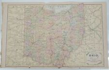 Antique 1892 Mast, Crowell & Kirtpatrick Popular Atlas Map - Ohio and Illinois