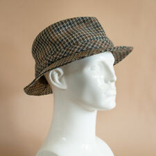 Vintage Men's Checked Plaid Wool Blend Fedora Trilby Hat Brown Small 55cm 21.5""
