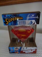 """Superman S ornament Hallmark 2016 new in package red glittery Christmas 3"""" acros"""