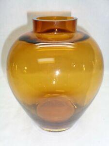 Vtg Art Glass Amber Vase Weed Pot Stem Flower Display Modernist Badash Style