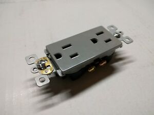10pc Decorator Duplex Receptacles 15 Amp GRAY 15A Decora Outlet Self Grounding