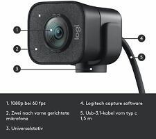 +++ Logitech StreamCam Webcam 1920 x 1080 pixels USB-C 3.2 Gen 1 (3.1 Gen 1) Bla