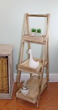 89cm Rustic Wooden Ladder Style 3 Tray Stand Book Shelf Ornamental Display