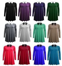 Woman Peter Pan Collar A Line Swing skater dress long sleeves plus sizes 8-22