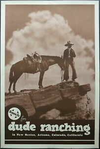 c.1930s Santa Fe for Dude Ranching Western Cowboy Poster Vintage Original ATSF