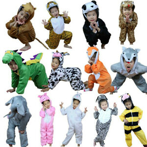 Kids Animal Costume Cosplay Dinosaur Tiger Elephant Halloween  Jumpsuit
