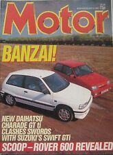 Motor magazine 9/5/1987 featuring Daihatsu Charade, Suzuki swift, Jaguar,Porsche