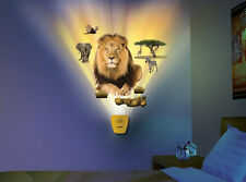 Wild Walls WILDLIFE SAFARI wall stickers 10 decals with LIGHT & SOUNDS lion tree