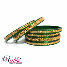 Rabbi Combi plasto Gold Plated Green 6 pc indian bangles set ethnic Fashion 2.2