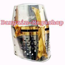 Medieval Knight Armor Crusader Templar Helmet Helm with Mason's Brass Cross d@#8