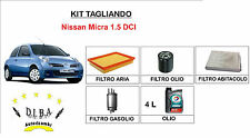 KIT FILTRI TAGLIANDO NISSAN MICRA 1.5 DCI + OLIO TOTAL CLASSIC  5W40