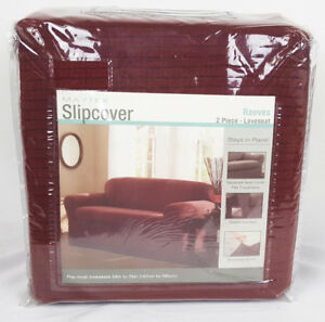 Maytex Reeves Slipcover 2 Piece Loveseat – Red - Fits loveseats 58in W to 73in W
