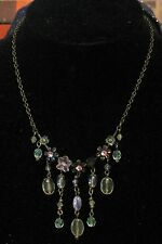 Necklace very pretty bronze tone metal with pretty flowers, beads and stones