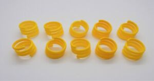 10 X 16mm Yellow Re-Usable Poultry Spiral Leg Rings Hen Goose Chicken Duck