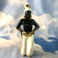 "Vintage Blackamoor Nubian Lady Figurine Black Gold 8.5"" MCM"