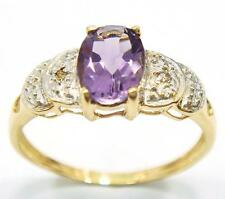 NICE 10KT YELLOW GOLD OVAL AMETHYST & DIAMOND RING SIZE 7   R1006