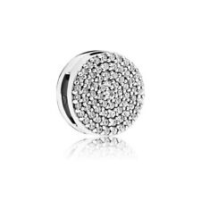 REFLEXIONS ROUND PAVE CLIP CHARM SILVER STERLING S925 FIT BRACELETS LOVE BEAD