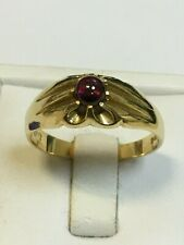 Superb 18 Carat Yellow Gold GENTS GYPSY CABOCHON RUBY SET Ring
