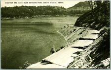 "Coeur d'Alene, Idaho Postcard ""Highway and Lake near HEYBURN PARK"" Conoco Adv."