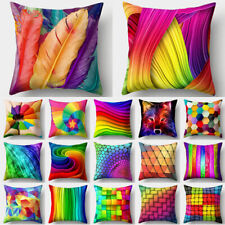 Rainbow Color Polyester Pillow Case Sofa Car Throw Cushion Cover Home Decor 18''