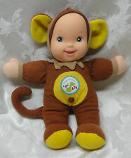 "Goldberger Sings ABC Counts 123 Learn GIRL Baby Monkey 11"" Guarantee Sound EUC"