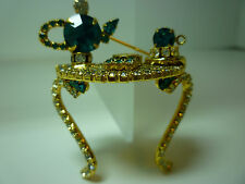 Vintage DOROTHY BAUER Signed Teal Blue and Clear Rhinestone Pin Costume Jewelry