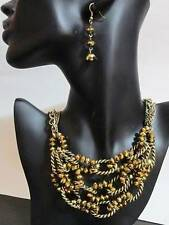 """Lovely Topaz Color Crystal Glass Beaded Fancy Twisted Necklace Earrings Set 18""""+"""