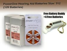 120 Power One Hearing aid Batteries Size 312  + Free Keychain/4 Extra Batteries