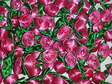 50 Satin Ribbon Roses -Hot Pink with Emerald Green Leaf-Sewing Bow Craft- New