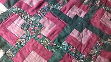 "Quilt LOVER'S KNOT Homemade Pinks and Greens 57 1/2"" x 80"" Blanket Throw Pretty!"