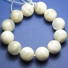 12 LARGE SHINY White/Gray Moonstone Round Beads 12mm K3209
