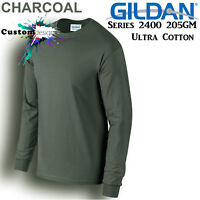 Gildan Long Sleeve T-SHIRT Charcoal Basic tee S - XXXL Men's Ultra Cotton