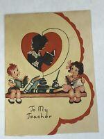 Vintage Valentine To Teacher Folded Silhoutte Children w/ Books Window Die Cut 1