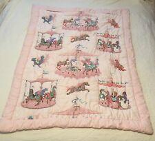Vtg Carousel Baby Comforter Bedspread Pink Pony Fair Animals Nursery Bedding