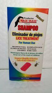 SHAMPOO LICE TREATMENT NACE MASS 4 OZ ELIMINADOR DE PIOJOS BRUSH INCLUDED