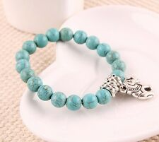 Fashion NEW Natural hot Turquoise beads tibet silver elephant charms Bracelet