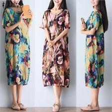 ZANZEA 8-24 Women Summer Long Midi Sundress Kaftan Bohemian Vintage Floral Dress