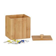 Aufbewahrungsbox mit Deckel, Holzbox klein, Ordnungsbox Bambus, Vorratsdose Holz