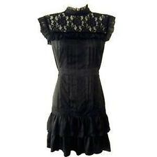 Lipsy 12 Gothic Victorian High Neck Lace Silky Party Black Dress Vintage RARE