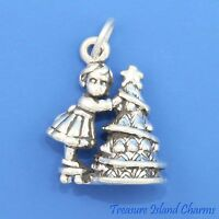 GIRL DECORATING CHRISTMAS TREE Heavy 3D .925 Solid Sterling Silver Charm