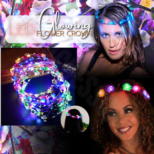 LED Crown Light Up Flower Floral Wreath Hairband Headband Garland Wedding Party