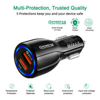 QC3.0 Quick Charge Dual USB Port Fast Car Lighter Charger 36W For iPhone Samsung