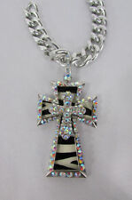New women silver metal plate scarf necklace pendant charm big cross rhinestones