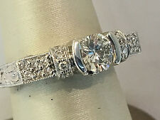 18K White Gold Bridal Diamond Engagement Ringwith Round Diamond in Cnt.size 6.5